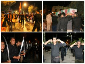 گزارش تصویری/مراسم عزاداری هیئت های مذهبی راور در شب نهم محرم (٣۵عکس)