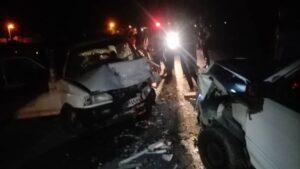 ۱۲ مصدوم در حادثه تصادف دو خودروی پراید در ورودی روستای فیض آباد راور