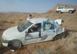 واژگونی خودروی سواری در محور راور_دیهوک، ٣ مصدوم برجای گذاشت+تصاویر