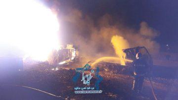واژگونی کامیون حمل سوخت و آتش گرفتن آن در جاده راور-دیهوک یک قربانی بر جای گذاشت+جزئیات و تصاویر