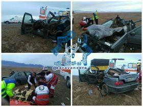 یک کشته و ۵ مصدوم بر اثر برخورد شتر با پژو پارس در جاده راور_دیهوک +تصاویر