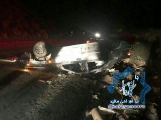 واژگونی خودروی زانتیا در جاده راور_کرمان با یک کشته و ۴ مصدوم+تصویر