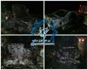 خودروی پژو در جاده راور_دیهوک در آتش سوخت +تصاویر