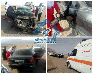 تصادف خودروی سواری و تریلی در جاده راور_دیهوک با ۵ مصدوم +تصاویر