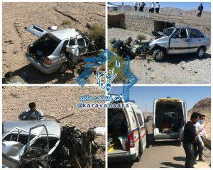 انحراف از جاده و سقوط پراید به دهانه پل در جاده راور_بهاباد منجر به ۴ کشته و مصدوم شد+تصاویر